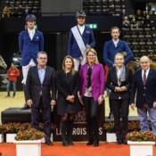 Siegerehrung Les Trois Rois, Daniel Deusser, Julien Epaillard, Martin Fuchs (von links). Bild CSI Basel, Katja Stuppia