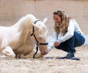 Auf dem Bild: Chantal Karrer mit Blue beweisen Harmonie und Vertrauen.